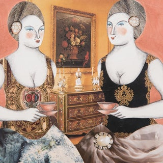 """""""Ladies at Tea"""" Mixed Media Tile by Pauline Hughes For Sale"""