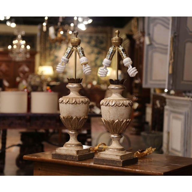 Italian Carved Wood Polychrome and Painted Urn Shape Table Lamps - a Pair For Sale - Image 4 of 13