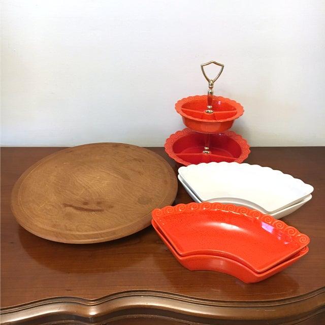 Mid-Century Modern 1960s Vintage Orange & White Ceramic Lazy Susan Snack Server For Sale - Image 3 of 7