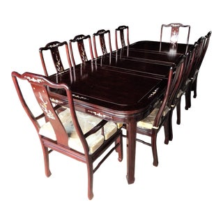 1990's Vintage Chinese Rosewood With Mother of Pearl Dining Room Set For Sale