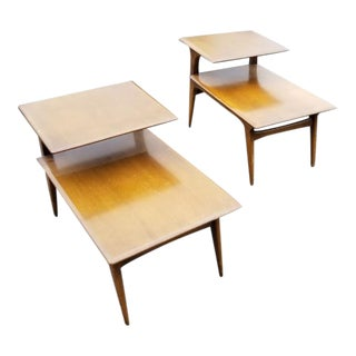 Mid Century Modern Heywood Wakefield 2 Tier Side Tables - Pair For Sale