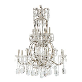 Italian Vintage Twelve-Light Crystal Chandelier With Scroll Arms For Sale