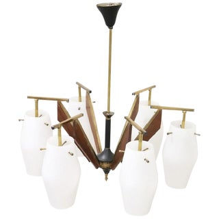20th Century by Stilnovo Enamel and Brass Italian Design Chandelier, 1960s For Sale