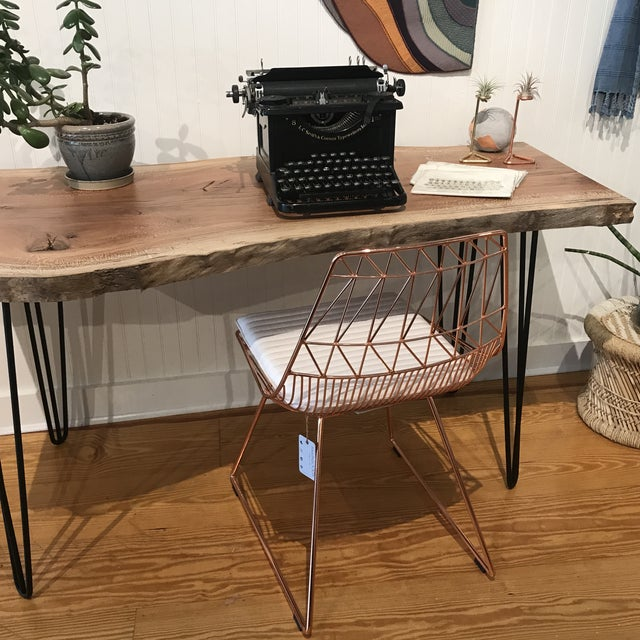 Organic Modern Live Edge Maple Slab Desk With Hairpin Legs For Sale - Image 11 of 12