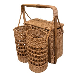 Vintage Palm Beach Boho Chic Natural Wicker Rattan Wine and Picnic Basket For Sale