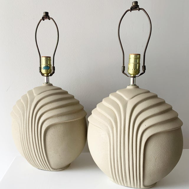 Art Deco 1980's Art Deco Style Plaster Table Lamps - a Pair For Sale - Image 3 of 10