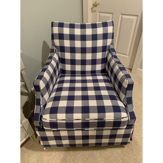 Darling buffalo check swivel glider. Perfect for a nursery or playroom. Lovely rocking/gliding motion and VERY...