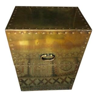 1960s Vintage Sarreid Ltd Brass Storage Side Table