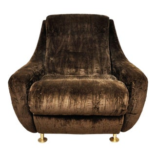 Italian Mid- Century Chair With Brown Crushed Velvet Upholstery and Metal Legs For Sale