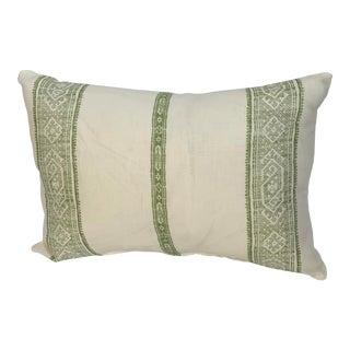 Green and White Stripe Carolina Irving Fabric Lumbar Pillow For Sale