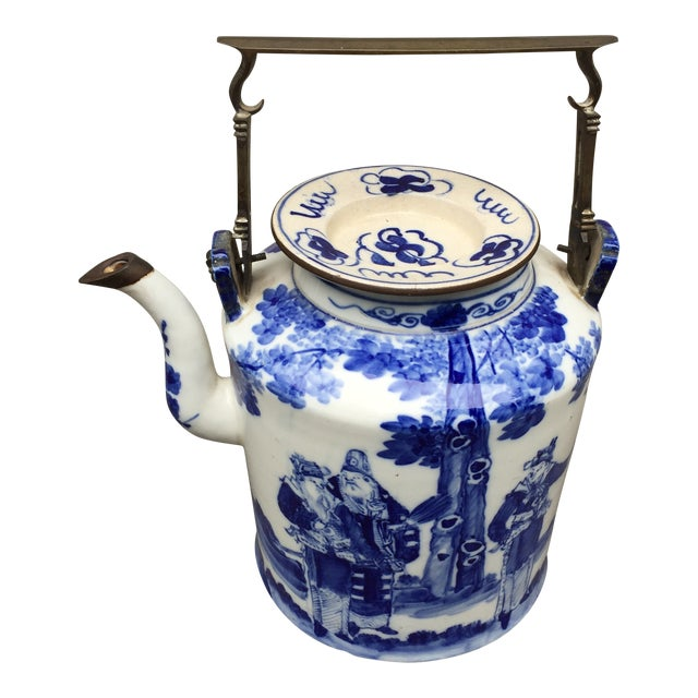 20th Century Chinoiserie Teapot Brass Handle and Brass Trim For Sale