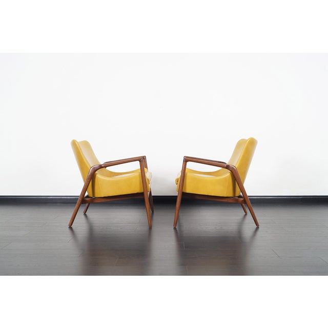 Danish Modern Leather Lounge Chairs by Ib Kofod Larsen For Sale In Los Angeles - Image 6 of 13