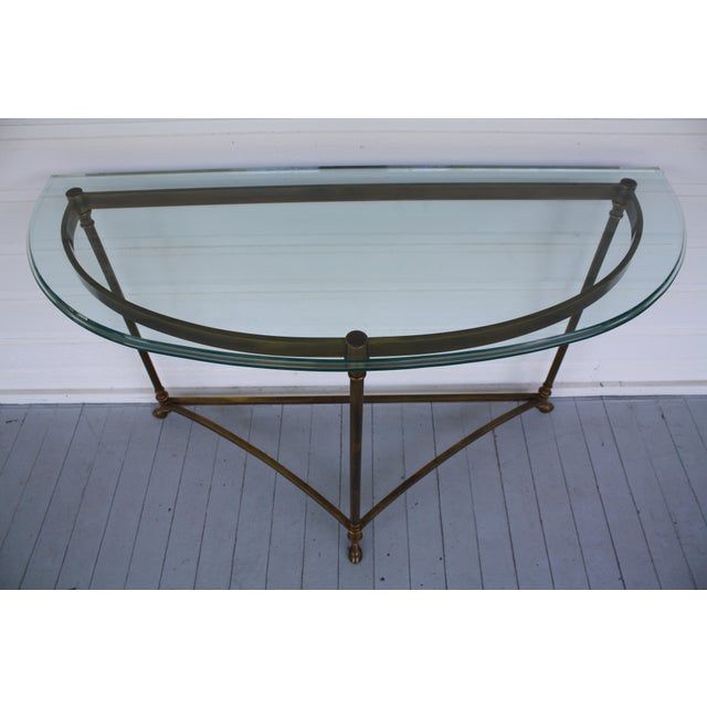 Brass & Glass Demi-Lune Table - Italian For Sale - Image 4 of 12