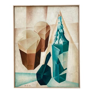 Vintage Mid-Century Cubist Still Life Painting For Sale