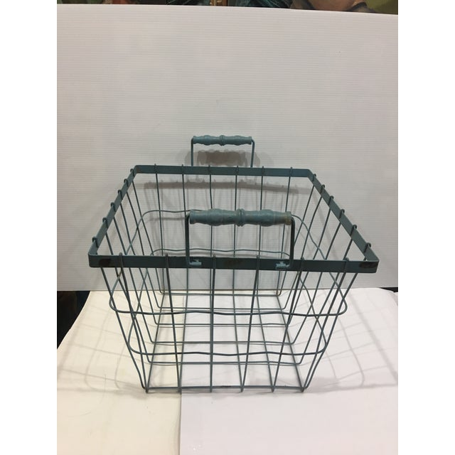 Black Blue Square Wire Basket with Wood Handles For Sale - Image 8 of 8