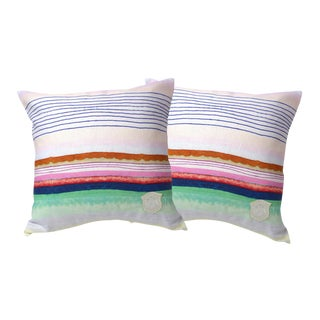 Colorful Striped Linen Pillows - A Pair For Sale