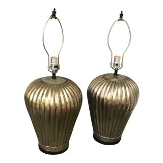Vintage Tall Brass Fluted Table Lamps - a Pair For Sale