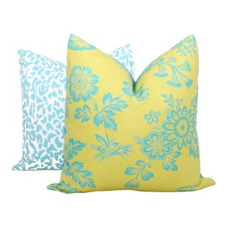"20"" x 20"" Chartreuse Song Garden Decorative Pillow Cover For Sale"