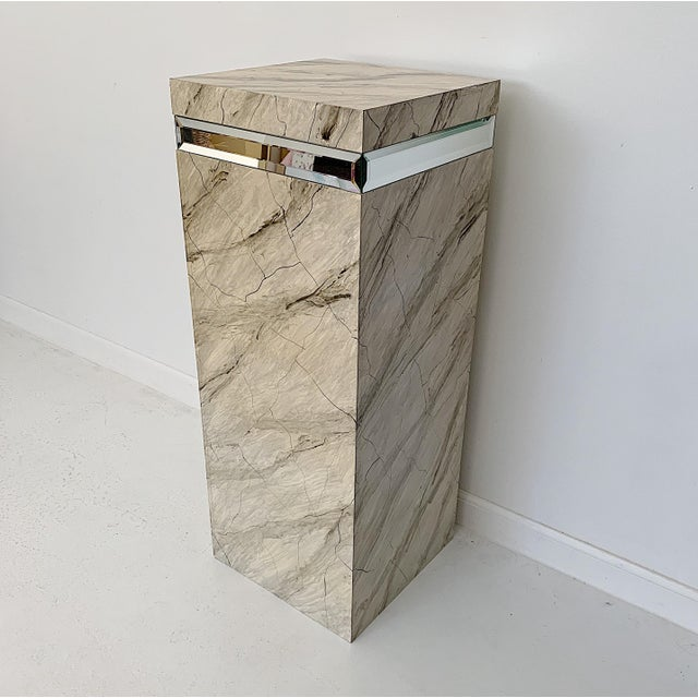 1970s 1970s Vintage Faux Marble Pedestal For Sale - Image 5 of 10