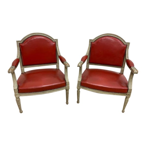 19th Century French Louis XVI Fauteuils Style Chairs - a Pair For Sale