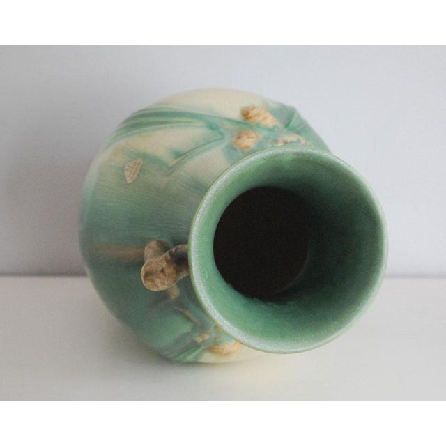 Green 1930s Arts and Crafts Roseville Pottery Green Pinecone Floor Vase For Sale - Image 8 of 10