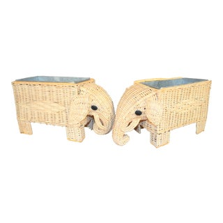 Boho Chic Wicker Elephant Basket Planters - a Pair For Sale