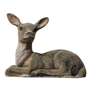 Vintage Pebble Concrete Deer Statue For Sale