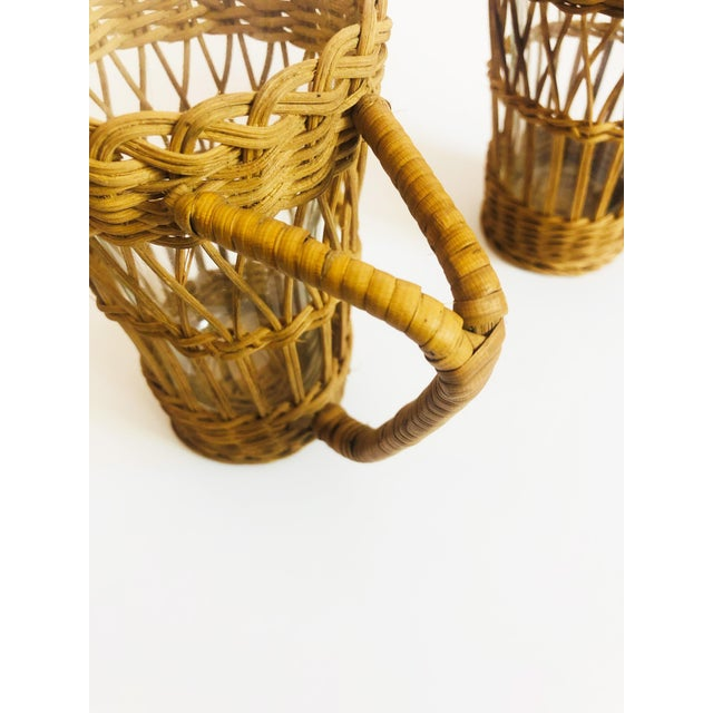Vintage Tall Glasses in Wicker Holders - Set of 2 For Sale - Image 4 of 6