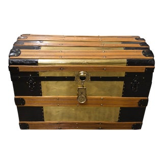 1920s Rustic Cottage Metal and Wood Treasure Chest