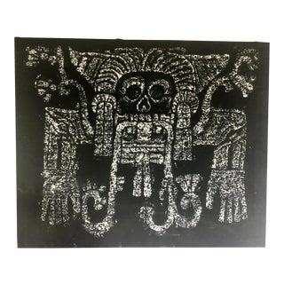 Vintage Mayan Temple Rubbing - Skull For Sale