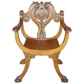 Antique Quartersawn Oak Saddle Curule Seat Renaissance Revival Crest Griffon Chair For Sale