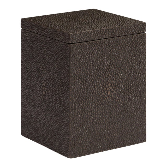 Faux Skin Shagreen Chocolate Cotton Wool Box For Sale