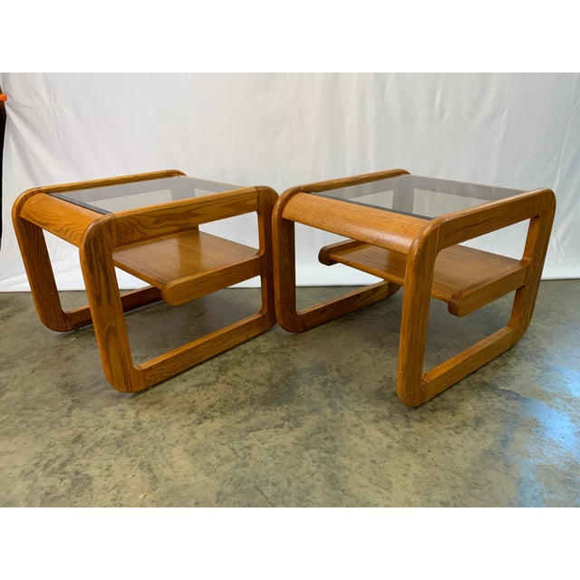1970s 1970s Mid-Century Modern Lou Hodges Oak and Smoked Glass End Tables -- a Pair For Sale - Image 5 of 10
