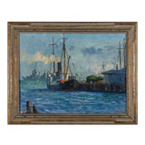 """Image of Painting by L. Krupp '39 """"Harbor Ships"""" For Sale"""