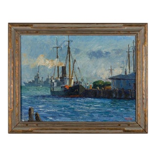 "Painting by L. Krupp '39 ""Harbor Ships"" For Sale"