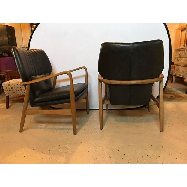 Danish Modern Leather Armchairs - A Pair For Sale - Image 4 of 11