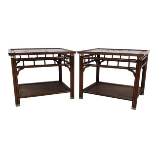 1970s Fruitwood & Smoked Glass Side Tables, a Pair