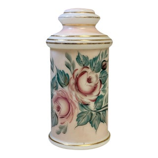 Early 20th Century Pale Pink and White Glass Painted Apothecary Jar For Sale