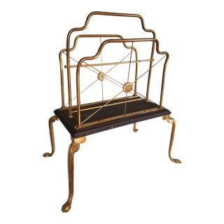 Vintage Hollywood Regency Brass and Wood Magazine Rack For Sale