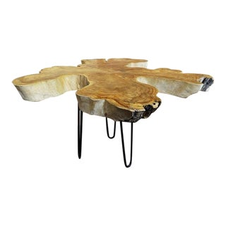 Teak Root Wood Resin Coffee Table With Metal Hairpin Legs