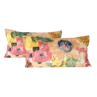 Watercolor Inspired Floral Lumbar Pillows - A Pair