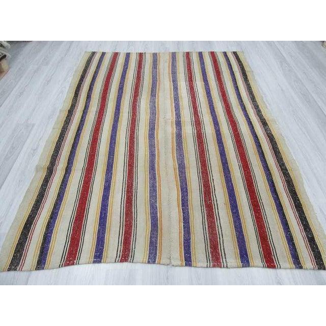 "Islamic Vintage Striped Turkish Kilim Rug - 6'2"" x 8'2: For Sale - Image 3 of 6"