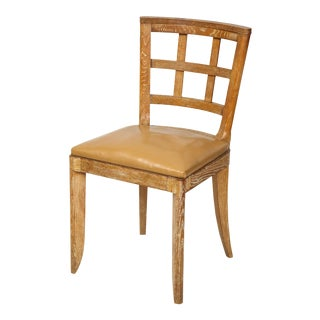 French 1940s Lattice-Back Cerused Oak Dining Chairs - Set of 6 For Sale