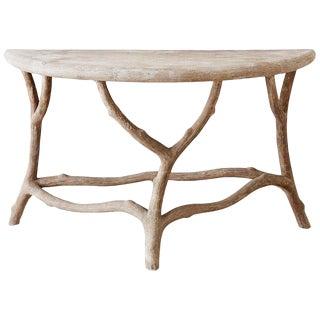 Cast Stone Concrete Faux Bois Demilune Console Table For Sale