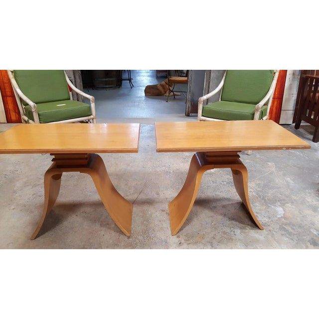 """Frankl Golden Mahogany """"Bell"""" Side Table - Pair - Image 8 of 9"""