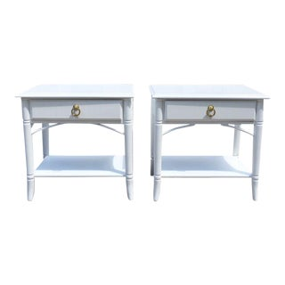 1970s Palm Beach Style Thomasville Lacquered White Night Stands - a Pair