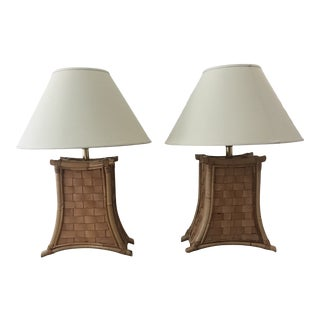 1970s Bamboo and Leather Strap Lamps - a Pair For Sale