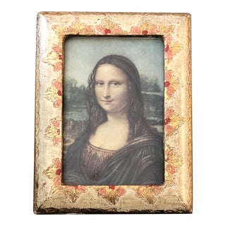 Miniature Mona Lisa Print in Italian Venetian Frame 1950's For Sale
