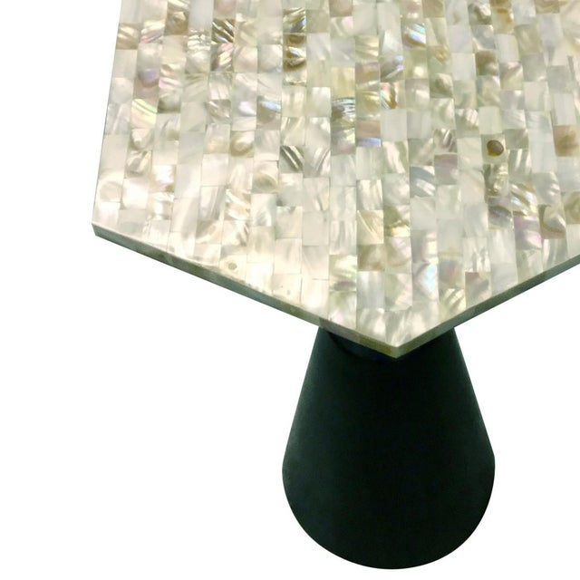 Mother-Of-Pearl & Metal Side Table - Image 4 of 6
