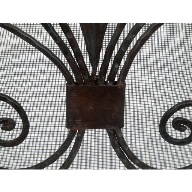 Handmade Wrought Iron Fireplace Screen For Sale - Image 4 of 9